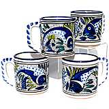 Le Souk Ceramique Aqua Fish Design Set of 4 Coffee Mugs