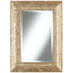 "Golden Capiz Shell 32 1/4"" High Framed Wall Mirror"