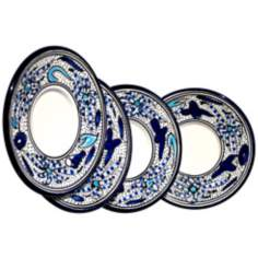 Le Souk Ceramique Aqua Fish Design Set of 4 Saucers