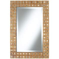 "Bamboo Mosaic 32 1/4"" High Mosaic Wall Mirror"