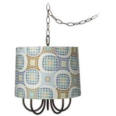 "Wynwood 14"" Wide Mini Swag Chandelier with Dot Shade"