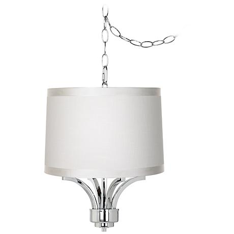 "Fortuna Chrome 16"" Wide Off-White Drum Mini Chandelier"