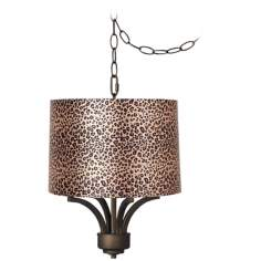 "Fortuna Bronze 16"" Wide Leopard Shade Mini Chandelier"