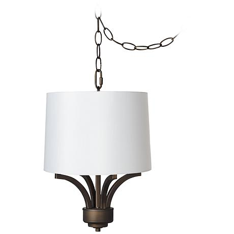 "Fortuna Bronze 14"" Wide White Shade Mini Chandelier"