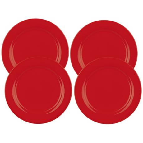 Set of 4 Fun Factory Red Salad Plates