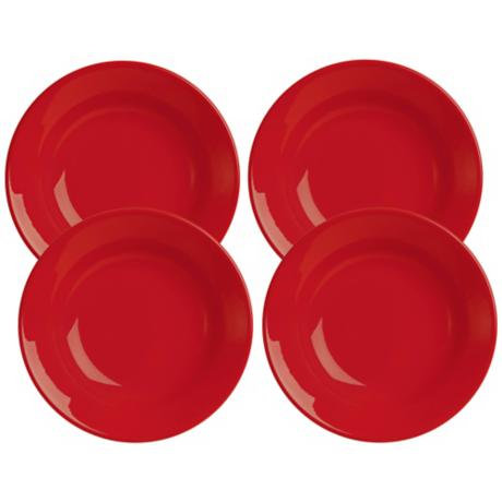 Set of 4 Fun Factory Red Soup Plates