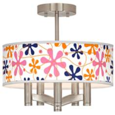 Retro Pink Ava 5-Light Nickel Ceiling Light