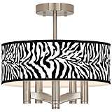 Safari Zebra Ava 5-Light Nickel Ceiling Light