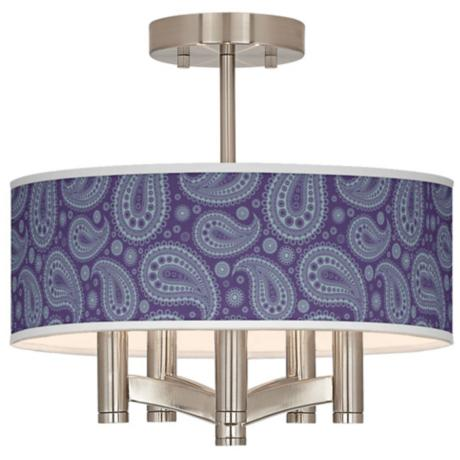 Purple Paisley Linen Ava 5-Light Nickel Ceiling Light