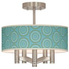 Blue Calliope Linen Ava 5-Light Nickel Ceiling Light