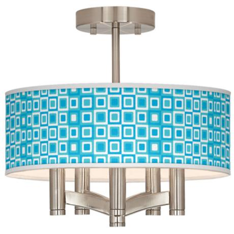 Blue Boxes Linen Ava 5-Light Nickel Ceiling Light