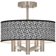 Greek Key Ava 5-Light Nickel Ceiling Light
