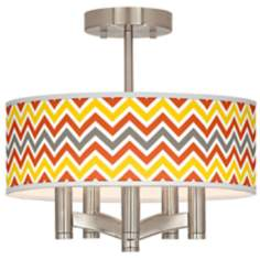 Flame Zig Zag Ava 5-Light Nickel Ceiling Light