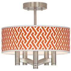 Red Brick Weave Ava 5-Light Nickel Ceiling Light