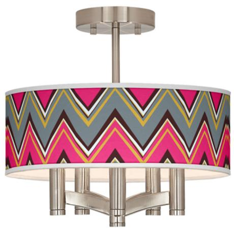 Stacy Garcia Chevron Pride Pink Ava Nickel Ceiling Light