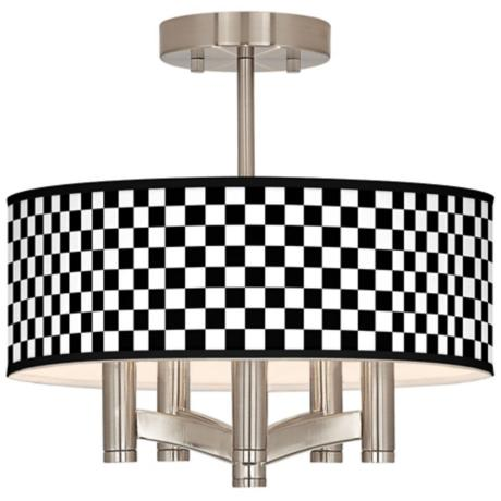 Checkered Black Ava 5-Light Nickel Ceiling Light