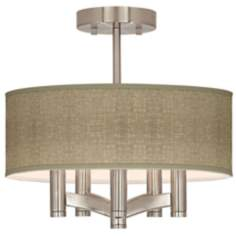 Burlap Print Ava 5-Light Nickel Ceiling Light