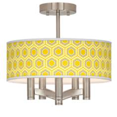 Honeycomb Ava 5-Light Nickel Ceiling Light