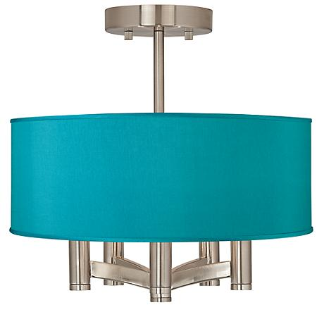 Teal Blue Faux Silk Ava 5 Light Nickel Ceiling Light