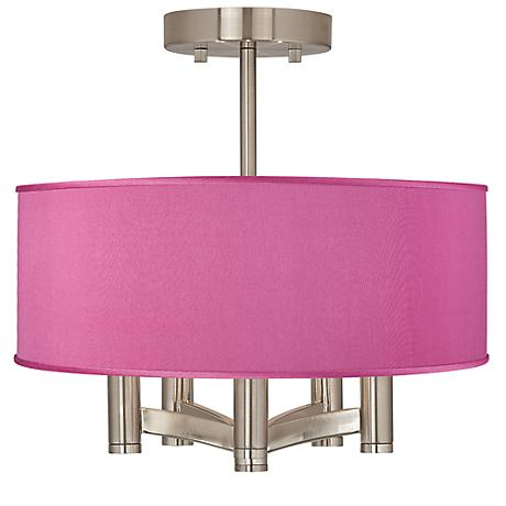 Pink Orchid Faux Silk Ava 5-Light Nickel Ceiling Light