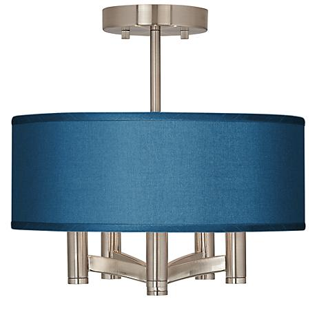 Blue Faux Silk Ava 5-Light Nickel Ceiling Light