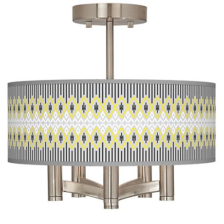 Desert Geometric Ava 5-Light Nickel Ceiling Light
