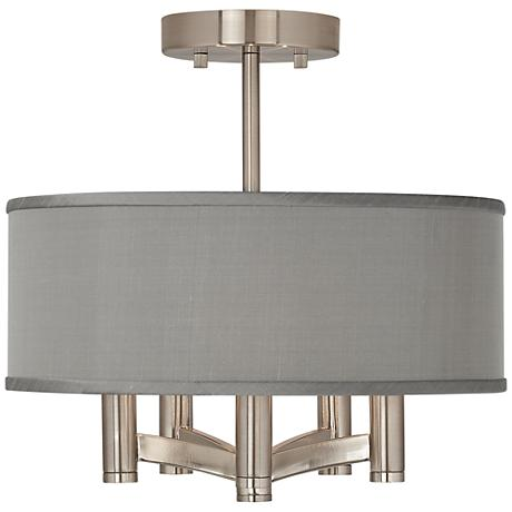 Gray Faux Silk Ava 5-Light Nickel Ceiling Light
