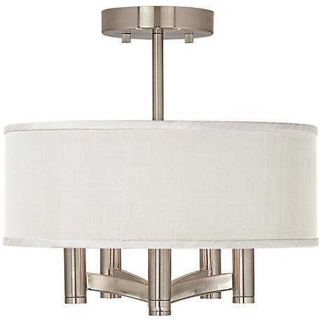 Cream Textured Silk Ava 5-Light Nickel Ceiling Light