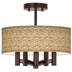 Seagrass Print Ava 5-Light Bronze Ceiling Light