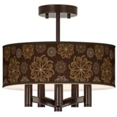 Chocolate Blossom Linen Ava 5-Light Bronze Ceiling Light