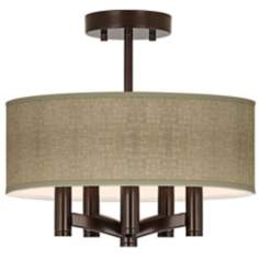 Burlap Print Ava 5-Light Bronze Ceiling Light