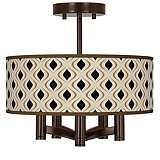 Gray Retro Lattice Ava 5-Light Bronze Ceiling Light