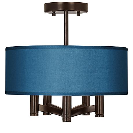 Blue Faux Silk Ava 5 Light Bronze Ceiling Light Y0035