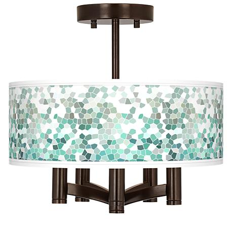 Aqua Mosaic Ava 5-Light Bronze Ceiling Light