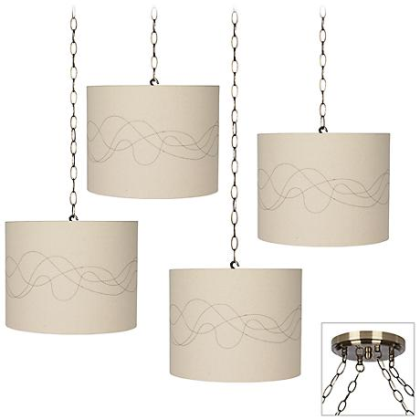 Abstract Line 4-Light Antique Brass Multi Light Pendant