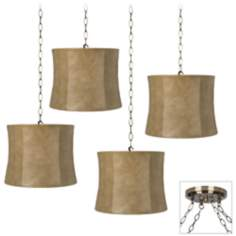 Faux Leather 4-Light Antique Brass Swag Chandelier