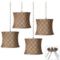 Brown Moroccan 4-Light Antique Brass Swag Chandelier