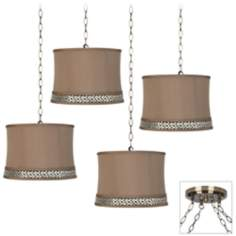 Champagne Gold 4-Light Antique Brass Swag Chandelier