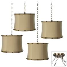 Morell Almond 4-Light Antique Brass Swag Chandelier