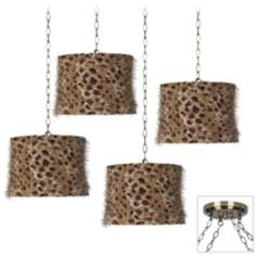 Leopard Shag 4-Light Antique Brass Swag Chandelier