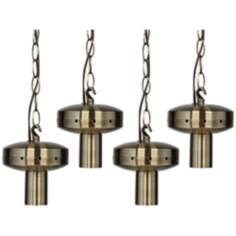 4 Light Antique Brass Shade - Swag Chandelier DIY Kit