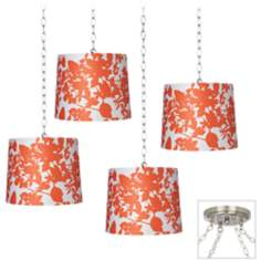 Orange Floral 4-Light Brushed Steel Swag Chandelier