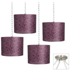Purple Lines 4-Light Brushed Steel Swag Chandelier