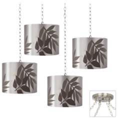 Taupe Satin Leaves 4-Light Brushed Steel Swag Chandelier