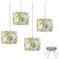 Metallic Leaves Brushed Steel 4-Light Swag Chandelier
