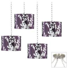 Plum and Silver 4-Light Brushed Steel Swag Chandelier