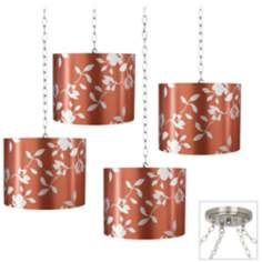 Rust Satin Leaf 4-Light Brushed Steel Swag Chandelier