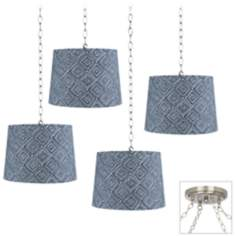 Blue and White Geometric 4-Light Brushed Steel Swag Chandelier