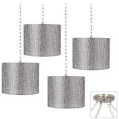 Silver Lines 4-Light Brushed Steel Swag Chandelier