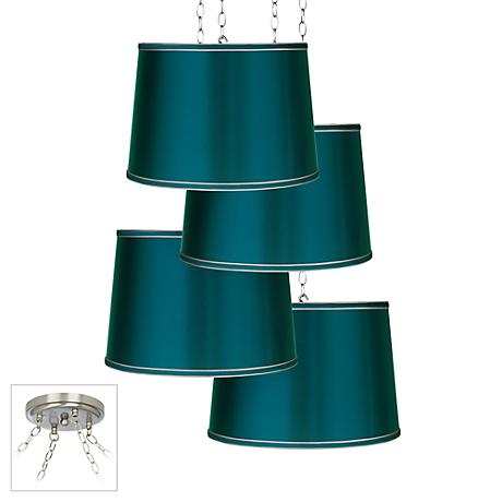 Teal Satin 4-Light Brushed Steel Multi Light Pendant